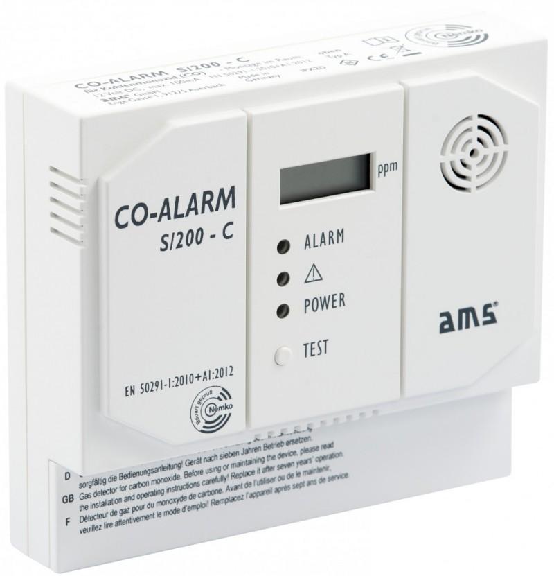 AMS Kohlenmonoxid-Melder S/200-C, 12 Volt - Vorderansicht