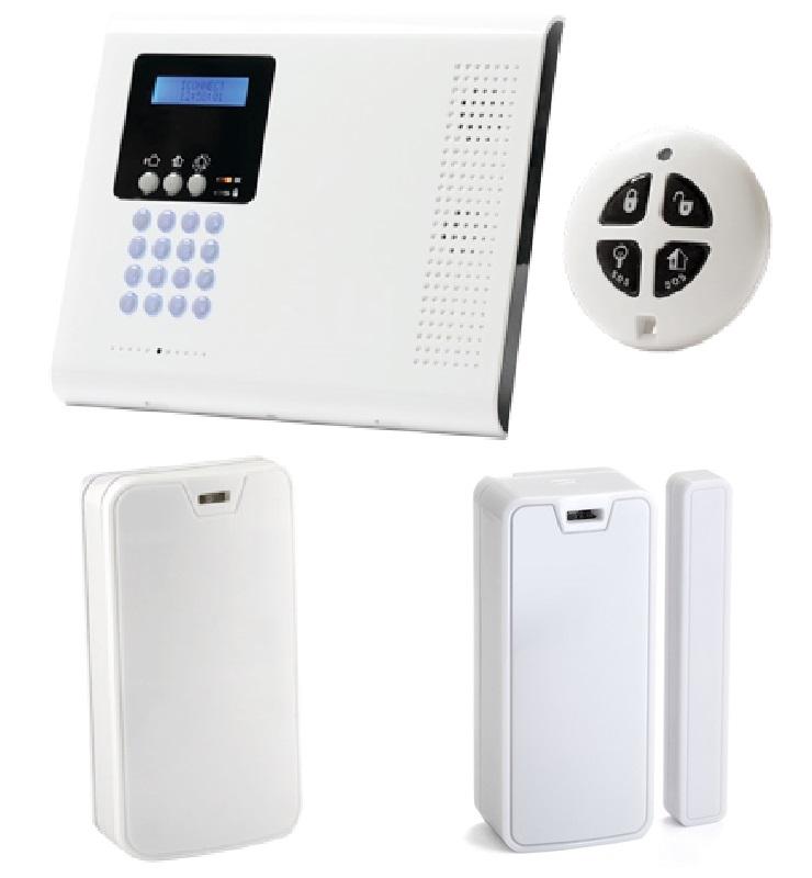 iConnect 2-Way Funk Alarmsystem | Set > PSTN/IP - Zentrale - Bewegungsmelder - Magnetkontakt - Fernbedienung