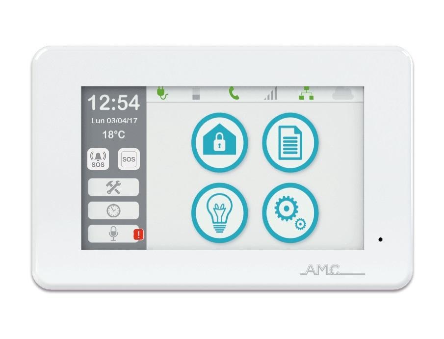 """AMC Touchscreen Bedienteil UNIKA mit TAG-Leser, 5"""" Display, weiß - Vorderansicht"""
