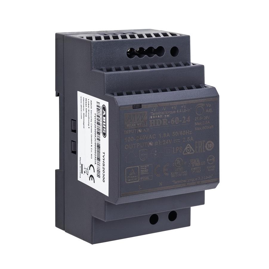 ABUS 24V DC Netzteil für Hutschiene TVHS20300 für ModuVis 2-Draht Verteiler - Vorderansicht rechts