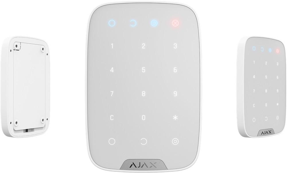 Ajax Funk-Bedienteil KeyPad (weiß) - Ansichten vorne, hinten, Seite