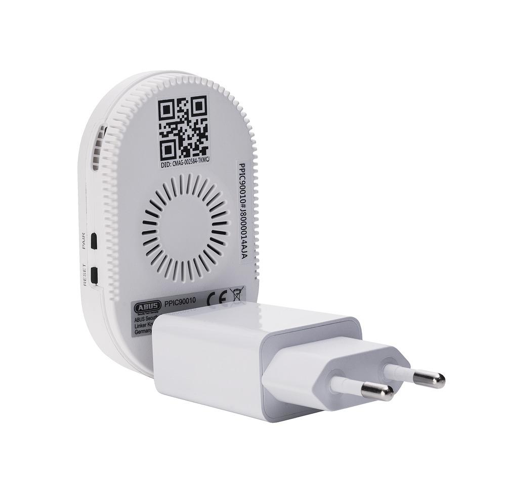 ABUS WLAN-Basisstation (PPIC90010) zu Akku Cam - Hinterseite mit Netzstecker