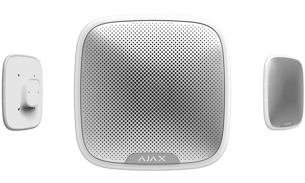 Ajax Funk Sirene EA-STS-W für Außenbereich - Ansichten frontal, hinten, Seite