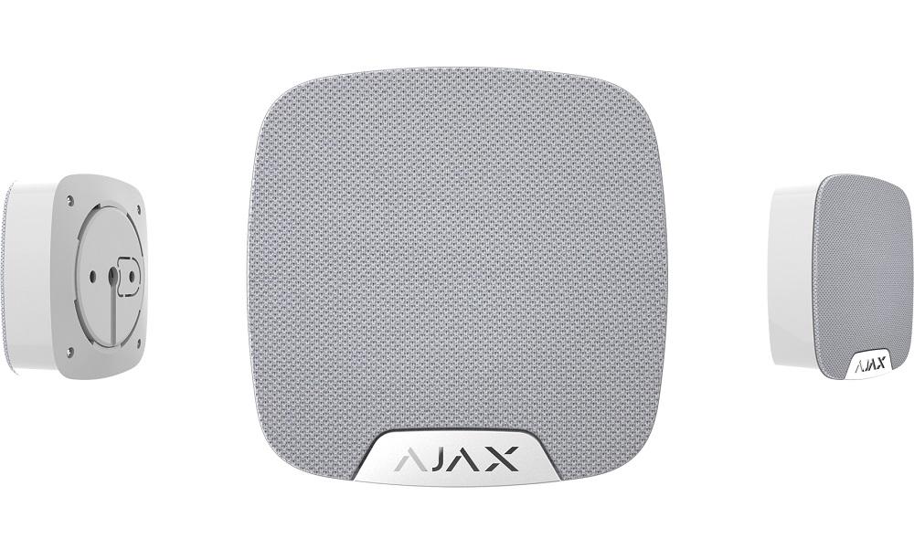 Ajax Funk Innen-Sirene EA-HOS-W, weiß - Ansichten frontal, hinten, Seite